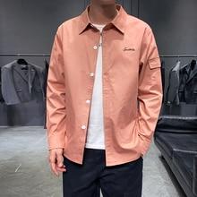 Solid Color Men Long Sleeve Shirt Fashion Embroidery Mens Shirts Pocket Autumn Men Long Sleeve Shirt цены