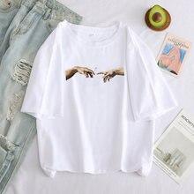 Camisa de t oversized feminino engraçado michelangelo imprimir estético mão dos desenhos animados camiseta gráfico y2k camisetas casuais camisetas femininas