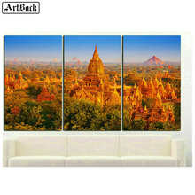 ArtBack Three spell diamond painting landscape full square castle scenery 5d mosaic sticker embroidery