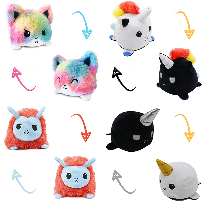 23 flip unicorn reversível flip brinquedos de pelúcia noite escura brilhante duas expressões família decoração crianças brinquedos ano novo presente pingente