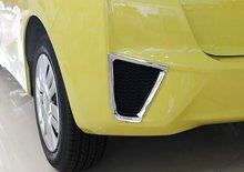 For Honda Fit 2014 2PCS ABS Chrome Car Rear Headlight Fog Lamp Trim Cover Car Styling Accessories fit for 2014 honda fit jazz chrome front rear headlight tail light cover trim