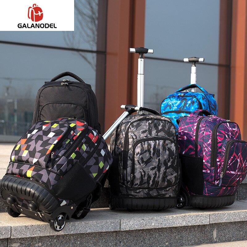 18 zoll Rolling Rucksack Reise Schule Rucksäcke auf Rad Trolley Schul für Jugendliche Jungen Kinder Schule Tasche mit Rädern - 3