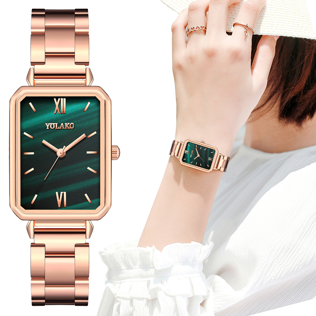 Reloj Mujer Women Rectangle Green Marble Dial Roma Watches YOLAKO Female Rose Gold Stainless Steel Quartz Wrist Watches 1