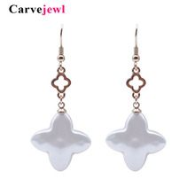 Carvejewl acrylic pearl earrings clover charm dangle for women jewelry plastic hook anti allergy korean