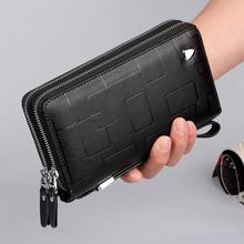 Luxury Brand Men Clutch Bag Genuine Leather Long Purse Double Zipper Money Clip Black Business Cow Leather Wallet Male Handy Bag
