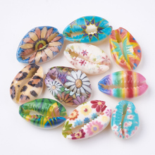 Contas de concha de cowrie impressas, 200 peças sem furo/sem furo colorido para diy acessórios de joias busca fazer colares pulseiras
