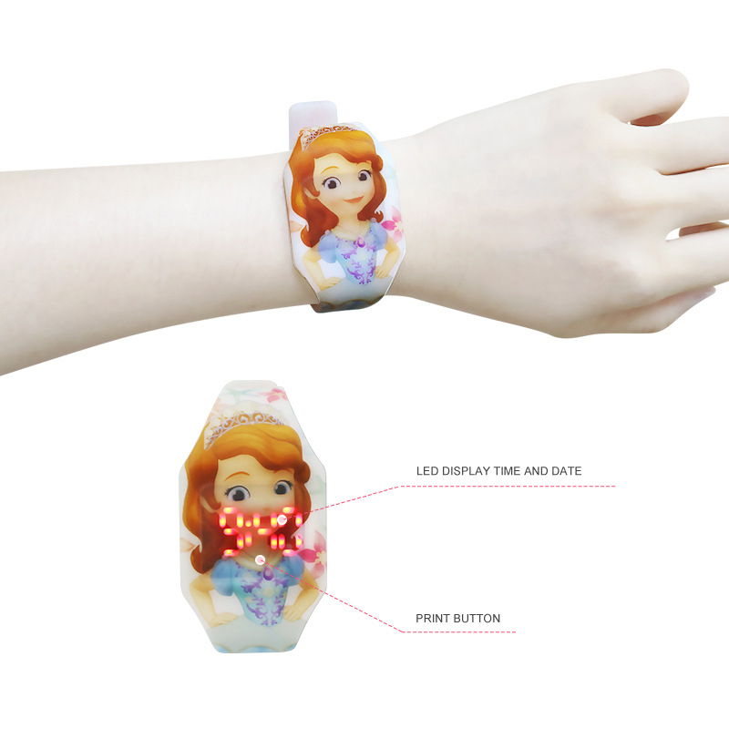 Disney Cartoon Digital Wristwatch Sophie Cartoon Watch Girls Watches Kids Digital Watch Complete Calendar LED Display Digital