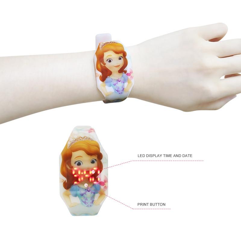 Disney Cartoon Digital Wristwatch Sophie Cartoon Watch Girls Watches Kids Digital Watch Complete Calendar LED Display Digital