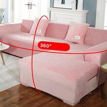 Capa de sofá grossa de veludo, capinha universal antideslizante e de esticar 2/3/4 lugares