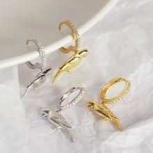 925 Sterling Silver Earrings Animal Parrot Earrings Personality Mini Inlaid Beau