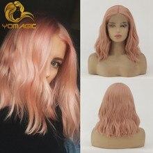 Perruque Lace Front wig sans colle rose – yomyic Hair, perruques Lace wig synthétiques avec naissance de cheveux naturelle pour femmes