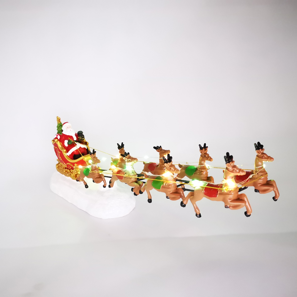 Image 3 - Winter Wonder Lane Christmas Village Set Santa Sleight with Reindeer Light Up Tabletop Decor