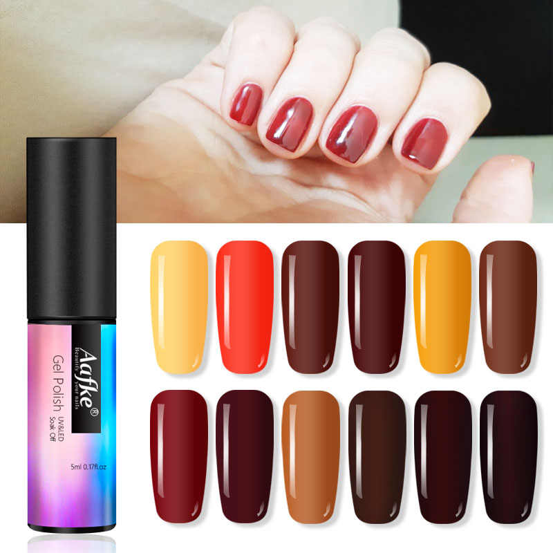 5ml café Color marrón Gel esmalte de uñas remojo UV elegante Chocolate marrón uñas arte manicura Gel barniz laca ZJJ3053