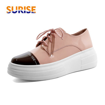 Pink Black Mixed Color Genuine Leather Women Flats Round Toe Platform Derbies Casual Travel Office Lace-up Brogues Lady Creepers