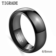 TIGRADE 8mm Mens Black Dome Tungsten Carbide Ring Polished Wedding Bands Engagement Rings Male Jewelry Comfort Fit Bague anel