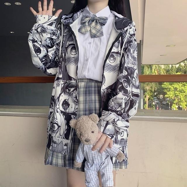 QWEEK Japanese Harajuku Anime Hoodie Hentai Zip Up 2021 Fashion Streetwear Women Kawaii Sweatshirts Korean Long sleeve Tops 2
