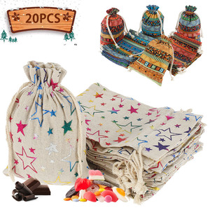 20 Pcs Linen Drawstring Gift Bags Colorful Star Printed Party Packaging Bag Candy Gift Bags Wedding Christmas Festive Supplies