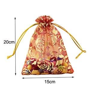 Image 3 - 100 pièces/lot 15x20, 17x23, 20x30 cm Rose fleur feuille grand Organza sac cordon pochettes pour mariage cadeau emballage sacs