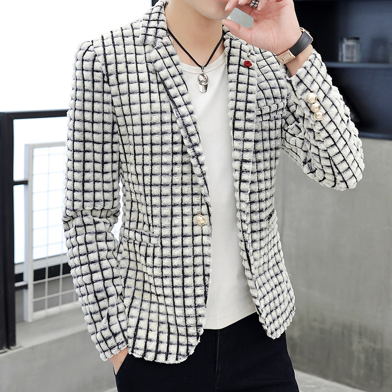 The New Man In The Spring Of 2020 Autumn Grid Suede Imitation Rabbit Hair Suit Suit Teenagers Cultivate One's Morality