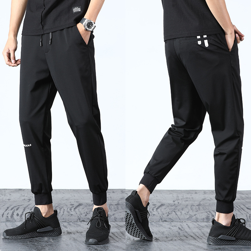New Style Men Elastic Waist Knit Pants Casual Pants Youth Loose-Fit Printed Ankle Banded Pants Trend Students Athletic Pants