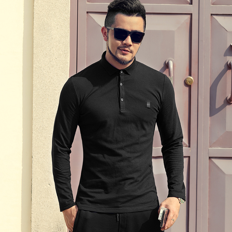 Man Special Embroidery Cotton Elastic Bead Men Decoration Long Sleeve Polo Shirt Turn-over Long Sleeve T-shirt PL-93