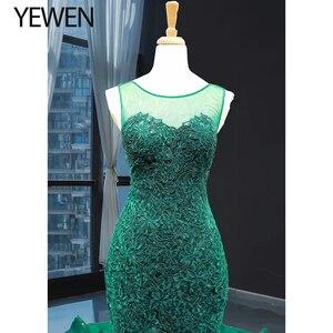 Image 4 - Green long Mermaid dresses evening 2020 O Neck formal dress women elegant evening party gown vestidos de fiesta talla grande