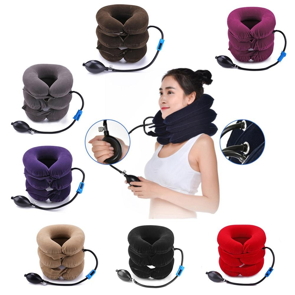 3-Layers Inflatable Neck Traction Collar Soft Cervical Stretching Device Air Cervical Pillow for Neck&Shoulder Pain Relief Brace(China)