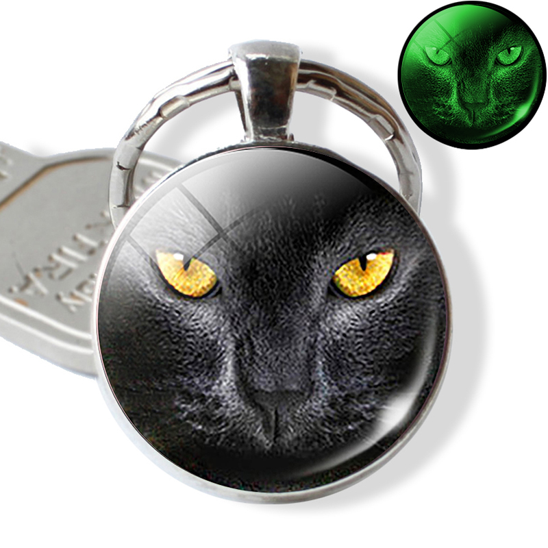Luminous Key Rings Black Cat Eyes Key Chain Cabochon Glass Photo Keychain Keyring Glow In The Dark