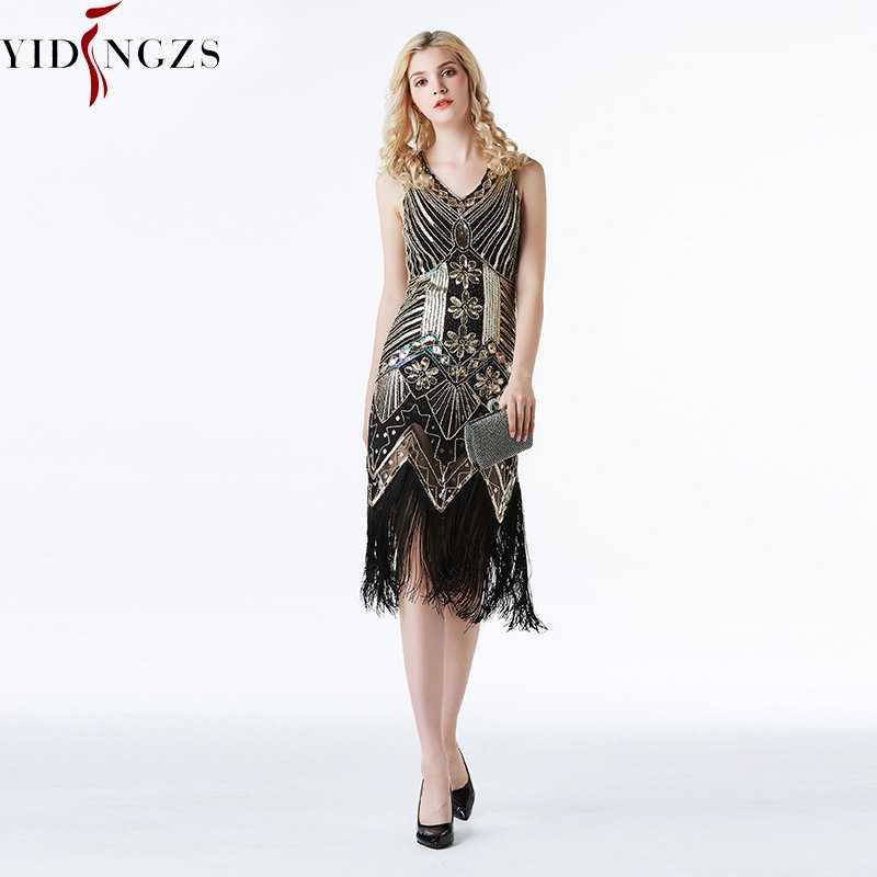 YIDINGZS فستان سهرة قصير عتيق ذهبي ترتر مطرز بالخرز فستان رسمي للحفلات المسائية 2020