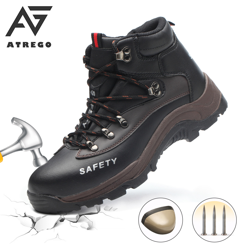 AtreGo Men Safety Shoes Steel Toe Cap Work Protective Trainers Boots Lightweight Breathable Sneakers Indestructible Shoes