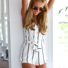 Sexy Open Back Black and White Striped Deep V-neck Sling with Belted Jumpsuit