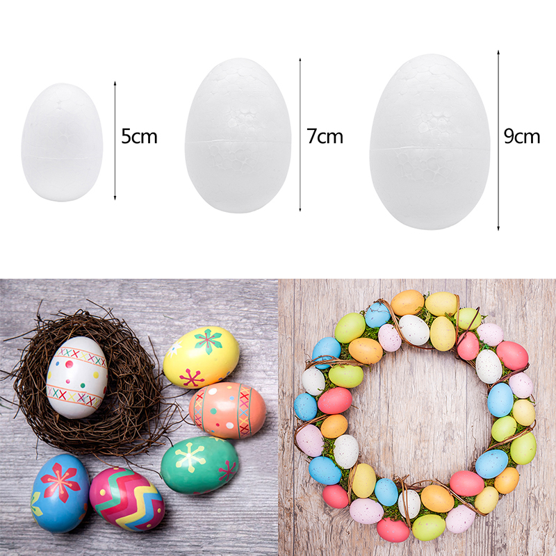 10pcs/lot 5/7/9cm Polystyrene Styrofoam Foam Egg Balls DIY Easter Eggs Ornament Handmade Material Kids Toys White Craft Supplies