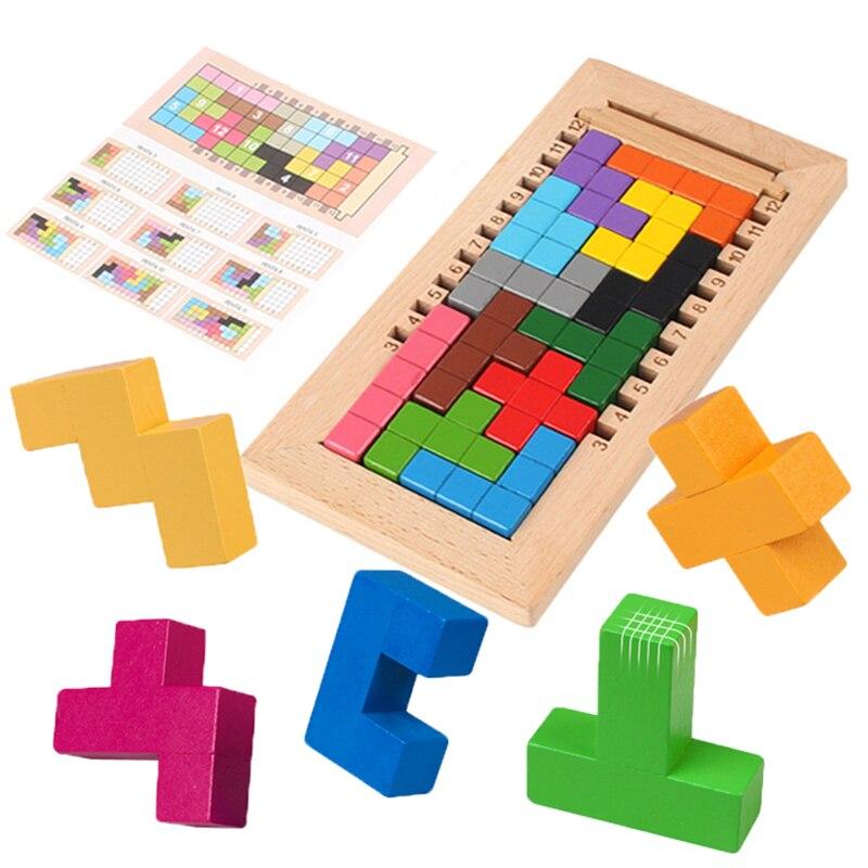 Jouets éducatifs en bois colorés pour enfants, Montessori, Tetris, Tangram, jeux de Puzzle, matière sensorielle, cadeaux