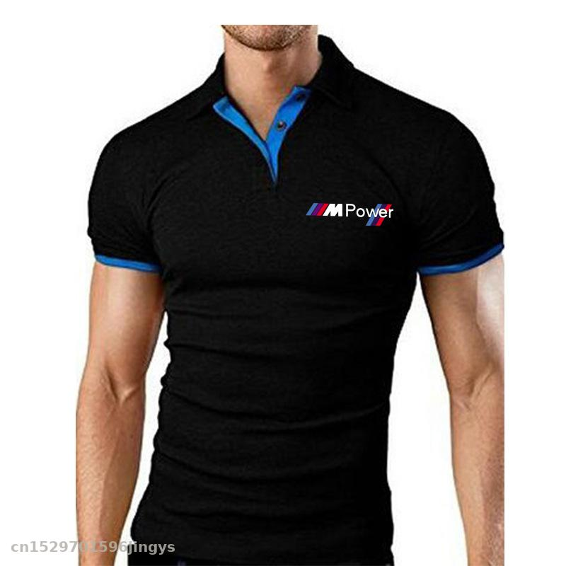 Men's Polo Shirt Summer Motorcycle Short Sleeve For Bmw Power Tshirts High Quality Sports Jerseys Top Tees Turn-down Collar