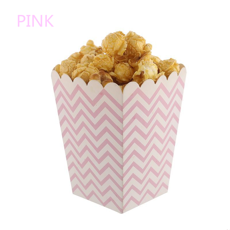 6/12Pc Pink/Blue Wave Popcorn Boxes Wedding Decoration Rose Gold Silver Striped Gift Bag Festival Birthday Party Supplies Favors