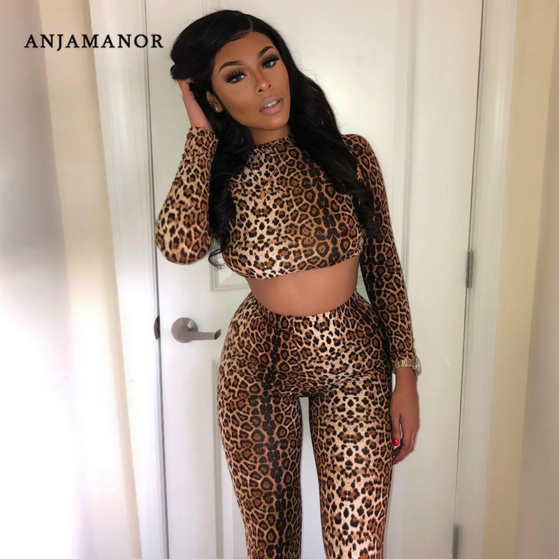 ANJAMANOR 2020 Fashion Sports Tracksuit Leopard Tiger Aimal Print Bodycon 2piece Sexy Outfit For Women Matching Sets D87-AA56