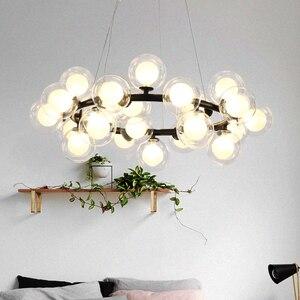 Image 2 - מודרני LED נברשות זכוכית השעיה lustres עבור סלון חדר אוכל חדר מטבח זהב/שחור תליון נברשות תאורה