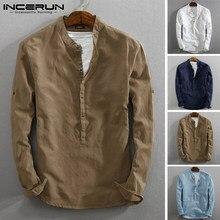 INCERUN – chemise Henley à manches longues pour hommes, Vintage, en coton et lin, solide, Streetwear, Harajuku, 2021