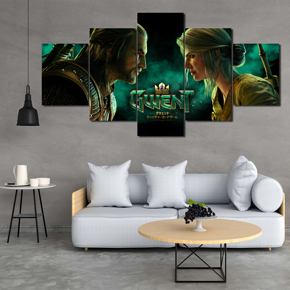 Game Wizard 5 Panel HD Print Canvas Painting Template Living Room Bedroom Decoration Free Shipping in Painting Calligraphy from Home Garden