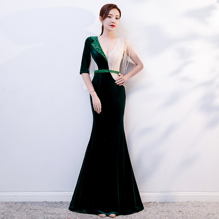 emerald green velvet asymmetrical mermaid beading event long dress vintage medieval dress Renaissance red carpet Victoria dress