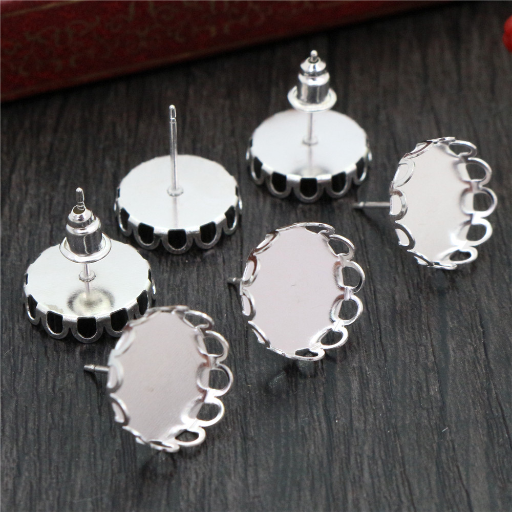 12mm 20pcs Silver Plated Earring Studs,Earrings Blank/Base,Fit 12mm Glass Cabochons,Buttons;Earring Bezels (L4-07)