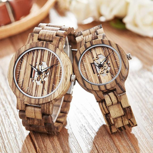 Couple Gift Women Watches Laides Casual Wrist Watch Wooden Round Dial Band No Number Analog Hollow Couple Bracelet Quartz Watch