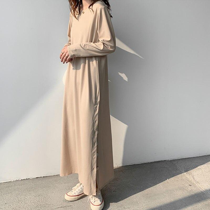 Neue 2021 Frühling Gestrickte Kleider Frauen Ein Stück Volle Hülse Koreanischen Midi Pullover Kleid Weibliche Vintage Stricken Tasten Schlitz Kleid