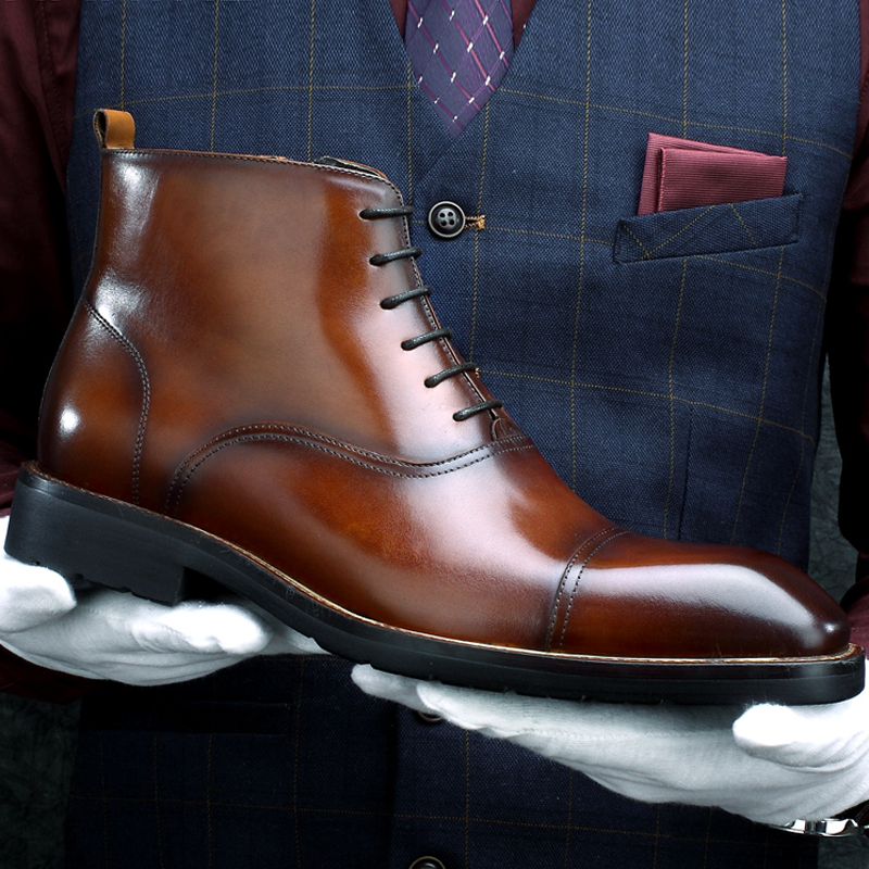 New Arrival Genuine Leather Men's Handmade Ankle Boots Square Toe Laces Cap Toe Oxfords Formal Dress Handmade Man Shoes HKN194