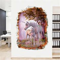 3d forset unicórnio adesivos de parede para crianças quartos decoração da sua casa sala estar unicórnio adesivos decorativos quarto mural muraux