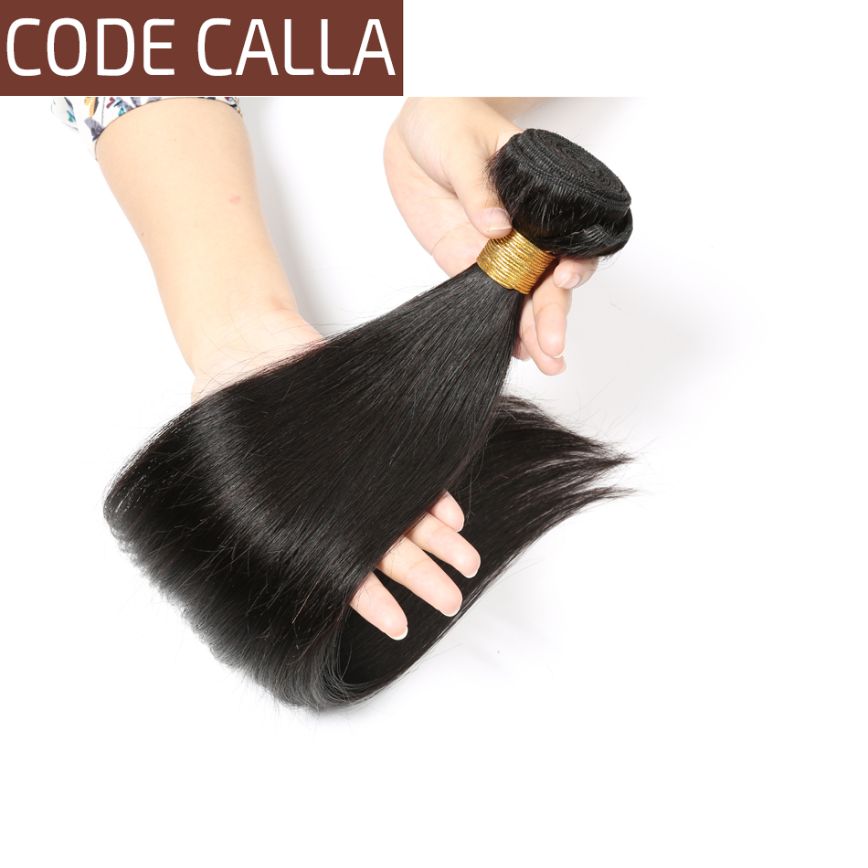 Code Calla Brazilian Unprocessed Raw Virgin Human Hair Extension Straight Bundles Natural Black Color Free Shipping For Women