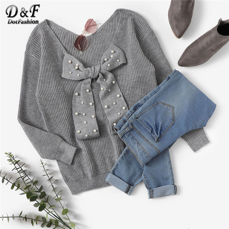 Dotfashion Grey Pearl Beaded Bow Tied Front Sweater Women Casual Autumn Clothing Sweaters Fashion 2019 Womens Pullovers Jumper
