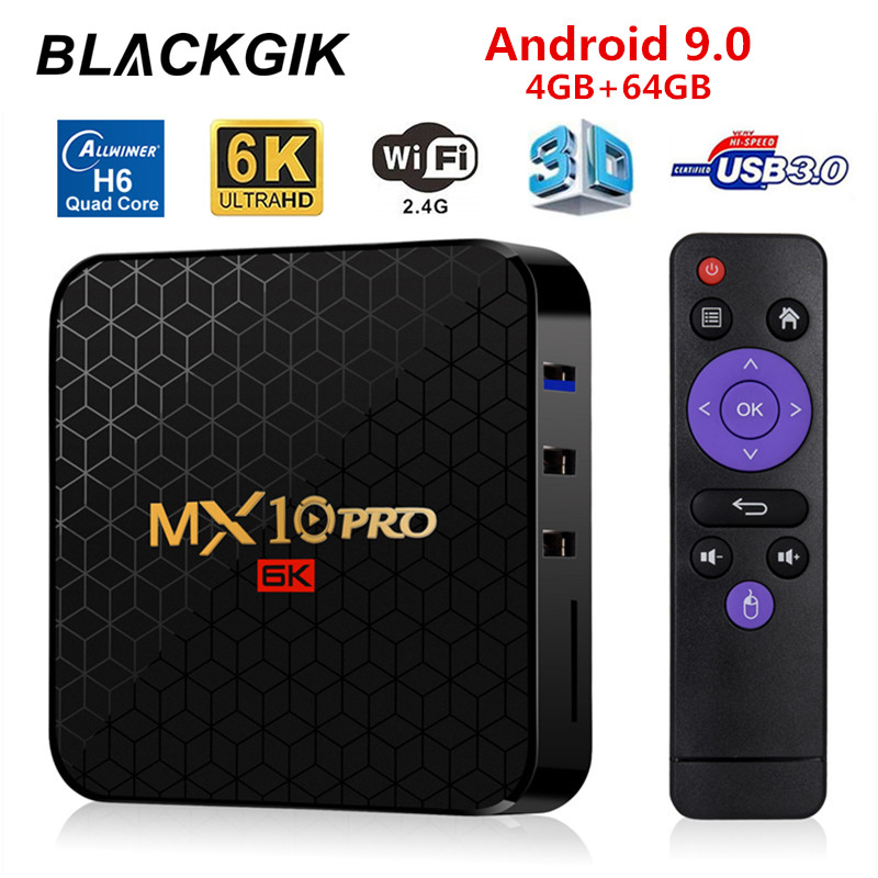 MX10 PRO Android 9.0 6K HDR Smart TV Box Allwinner H6 4GB 64GB 2.4GHz WiFi H.265 HDMI 2.0 HD lecteur multimédia avec USB 3.0