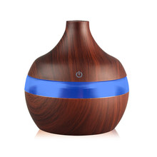 300ml USB Essential oil Aromatherapy air diffuser Electric Aroma Diffuser Wood Ultrasonic Humidifierr LED Lights for Office(China)