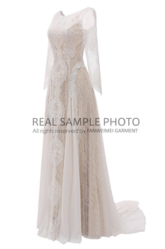 Factory Price 100 % Real Sample Photo Long Sleeve Backless O-Neck Lace Boho Bohemian  Beach Wedding Dress Bridal Gown 3